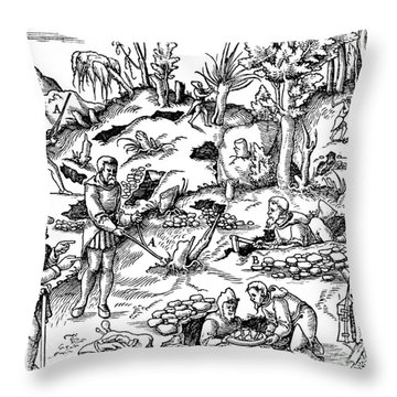 De Re Metallica, Prospecting Throw Pillow by Science Source