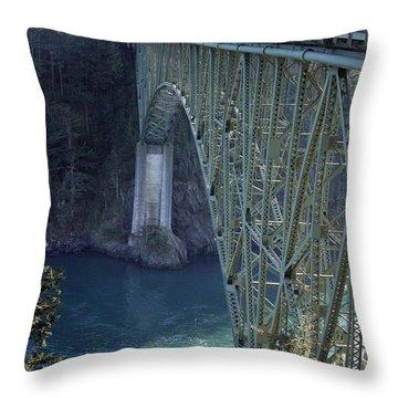 Deception Pass Bridge South Span Throw Pillow by Randall Thomas Stone