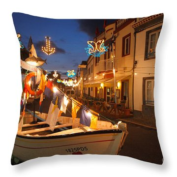 Decorated Fishing Boats Throw Pillow by Gaspar Avila