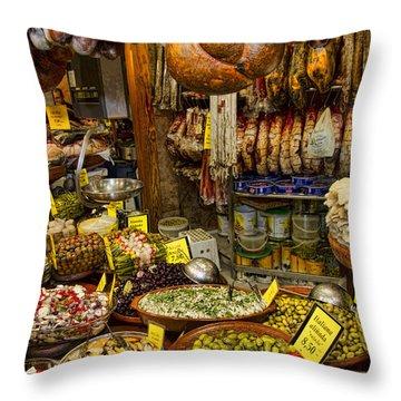 Deli In The Olivar Market In Palma Mallorca Spain Throw Pillow by David Smith