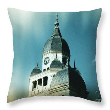 Denton County Courthouse Throw Pillow by Angela Wright