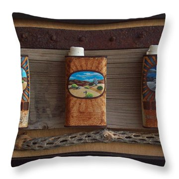 Desert Tryptich Throw Pillow by Snake Jagger