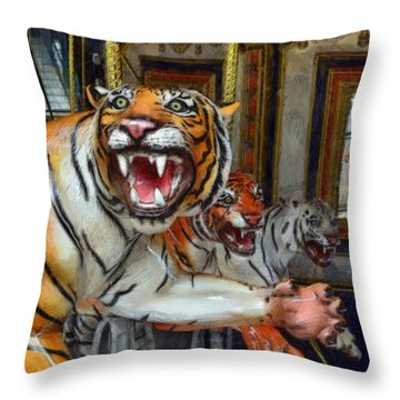 Detroit Tigers Carousel Throw Pillow by Michelle Calkins