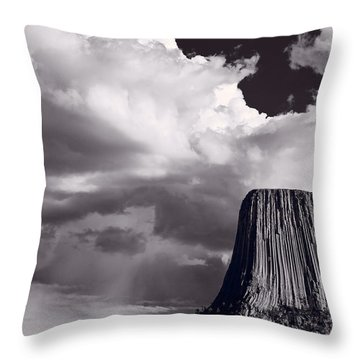 Devils Tower Wyoming Bw Throw Pillow by Steve Gadomski