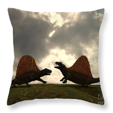 Dimetrodon Fight Over Territory Throw Pillow by Walter Myers