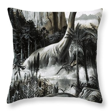 Dinosaurs Throw Pillow by Roger Payne