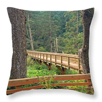Discovery Trail Bridge Throw Pillow by Pamela Patch