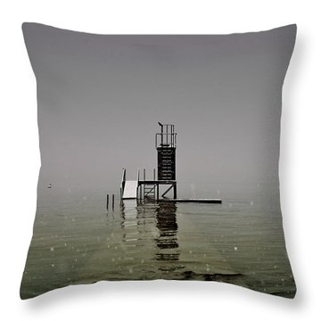 Diving Platform Throw Pillow by Joana Kruse