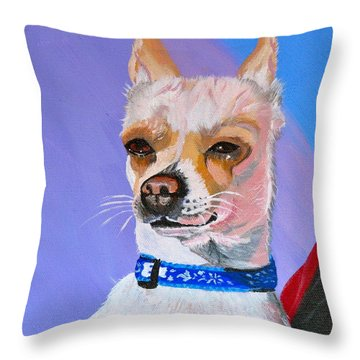 Doggie Know It All Throw Pillow by Phyllis Kaltenbach