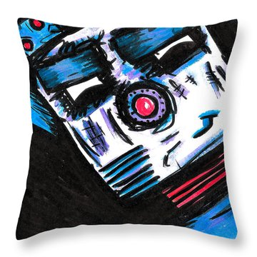 Doggy Bot Throw Pillow by Jera Sky