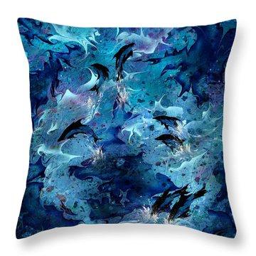 Dolphin Enchantment Throw Pillow by Rachel Christine Nowicki