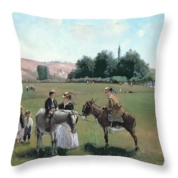 Donkey Ride Throw Pillow by Camille Pissarro