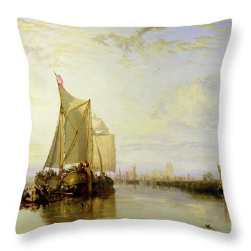 Dort Or Dordrecht - The Dort Packet-boat From Rotterdam Becalmed Throw Pillow by Joseph Mallord William Turner