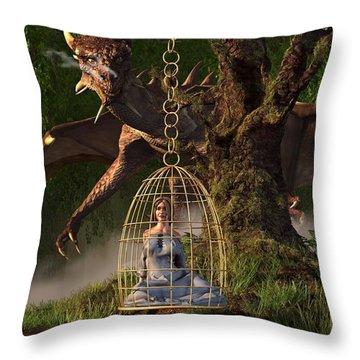 Dragon Bait Throw Pillow by Daniel Eskridge