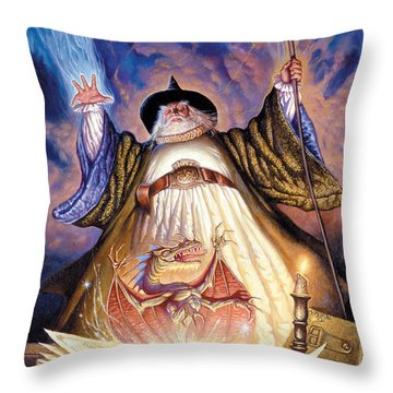 Dragon Spell Throw Pillow by The Dragon Chronicles