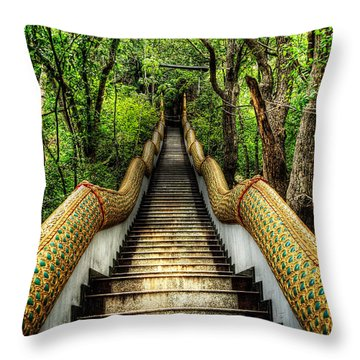 Dragon Steps Throw Pillow by Adrian Evans