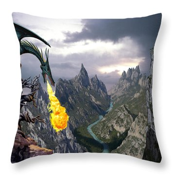 Dragon Valley Throw Pillow by The Dragon Chronicles - Garry Wa