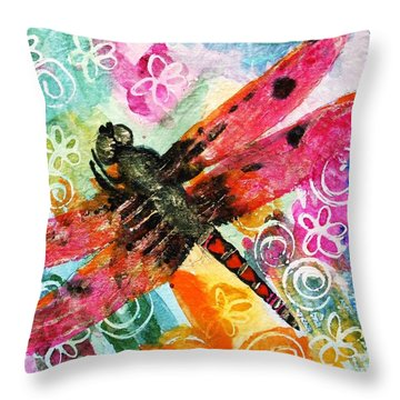 Dragonfly Fairy II Throw Pillow by Miriam  Schulman