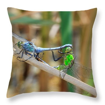 Dragonfly Love Throw Pillow by Everet Regal