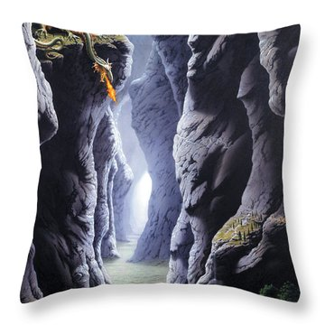 Dragons Pass Throw Pillow by The Dragon Chronicles - Steve Re