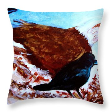 Eagle And Ravens Throw Pillow by Seth Weaver