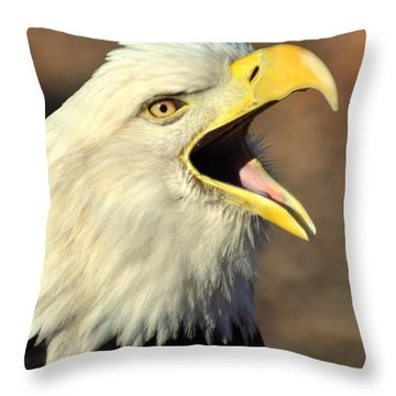Eagle Squawk Throw Pillow by Marty Koch