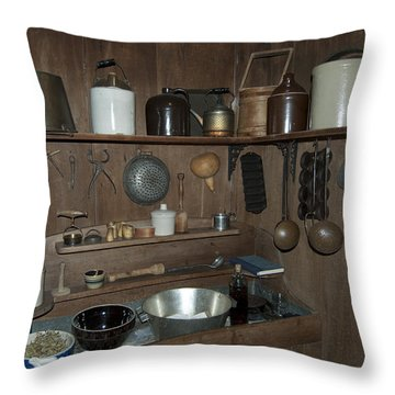 Early American Utensils Throw Pillow by Michael Peychich