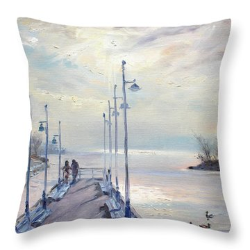 Early Morning In Lake Shore Throw Pillow by Ylli Haruni
