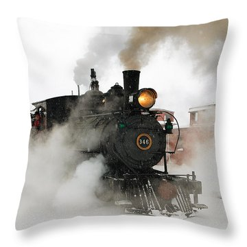 Early Morning Winter Steam Up Throw Pillow by Ken Smith