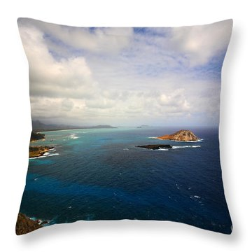 East Oahu Coastline Throw Pillow by Cheryl Young