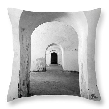 El Morro Fort Barracks Arched Doorways Vertical San Juan Puerto Rico Prints Black And White Throw Pillow by Shawn O'Brien
