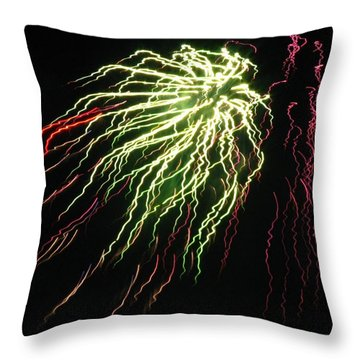 Electric Jellyfish Throw Pillow by Rhonda Barrett