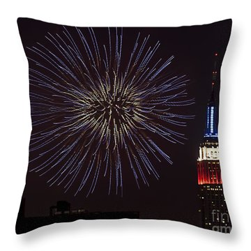 Empire State Fireworks Throw Pillow by Susan Candelario