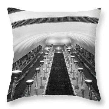 Escalators In A Tube Station Throw Pillow by Maynard Owen Williams