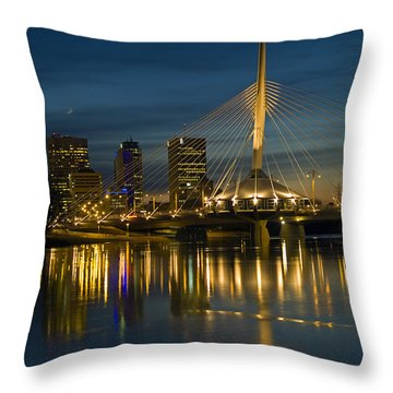 Esplanade Bridge Over Red River Throw Pillow by Mike Grandmailson