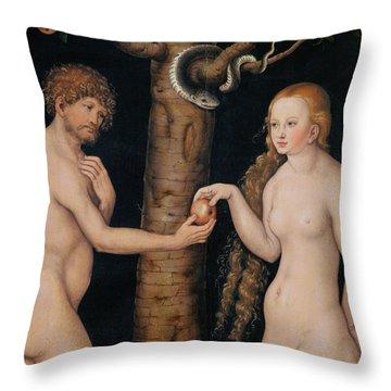 Eve Offering The Apple To Adam In The Garden Of Eden Throw Pillow by The Elder Lucas Cranach