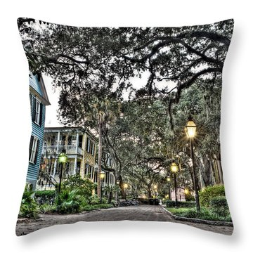 Evening Campus Stroll Throw Pillow by Andrew Crispi
