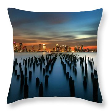Evening Sky Over The Hudson River Throw Pillow by Larry Marshall