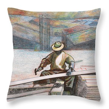 Experienced Craftsman Throw Pillow by Al Goldfarb