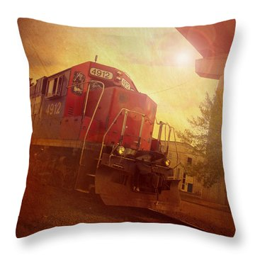 Express Train Throw Pillow by Joel Witmeyer