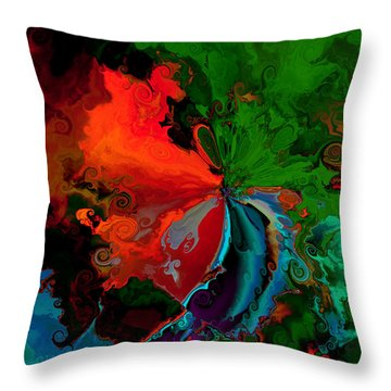Faa Abstract 3 Invasion Of The Reds Throw Pillow by Claude McCoy