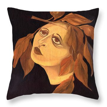 Face In Autumn Leaves Throw Pillow by Rachel Hershkovitz
