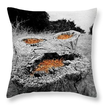 Faces In Nature Throw Pillow by Cheryl Young
