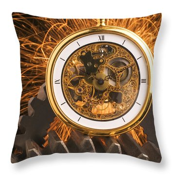 Fancy Pocketwatch On Gears Throw Pillow by Garry Gay