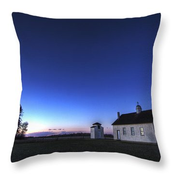 Farm House In Field At Sunset, Fort Throw Pillow by Dan Jurak