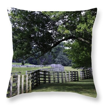 Farmland Shade Appomattox Virginia Throw Pillow by Teresa Mucha