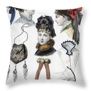 Fashion: Hats, C1875 Throw Pillow by Granger