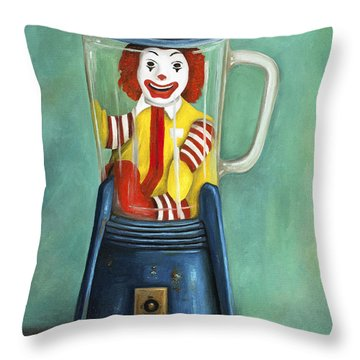 Fast Food Nightmare 2 The Happy Meal Throw Pillow by Leah Saulnier The Painting Maniac