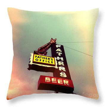 Father's Office Beer Throw Pillow by Nina Prommer