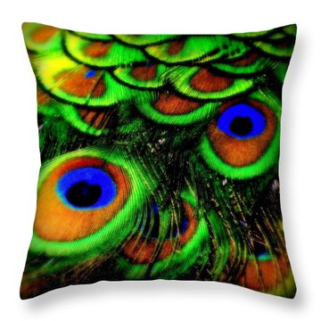 Feathers Throw Pillow by Karen Wiles
